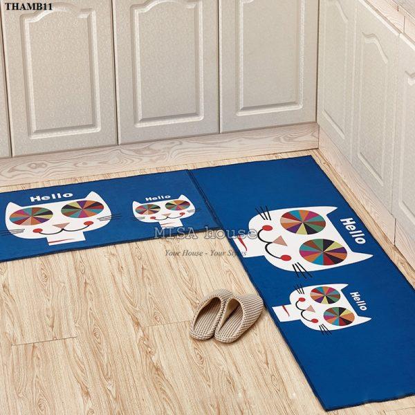 Bộ thảm bếp đẹp trang trí dễ thương hình mèo Hello