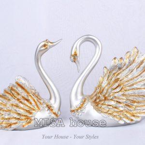 Quà tặng tân gia ý nghĩa - cặp thiên nga bạc siêu đẹp đựng rượu trang trí tủ kệ phòng khách