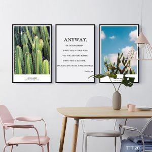 Tranh treo tường canvas nghệ thuật lá cây kết hợp câu nói ý nghĩa về gia đình