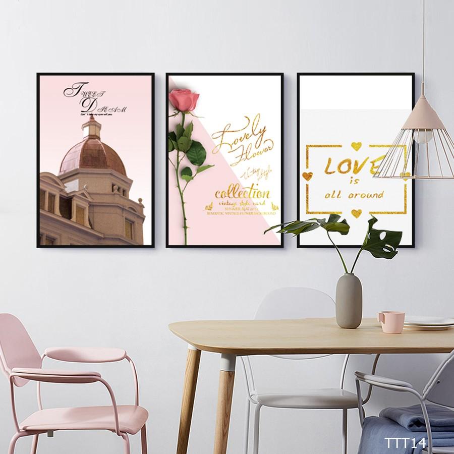 Tranh treo tường Love Rome màu hồng -tình yêu lãng mạn trang trí phòng khách phòng ngủ đẹp