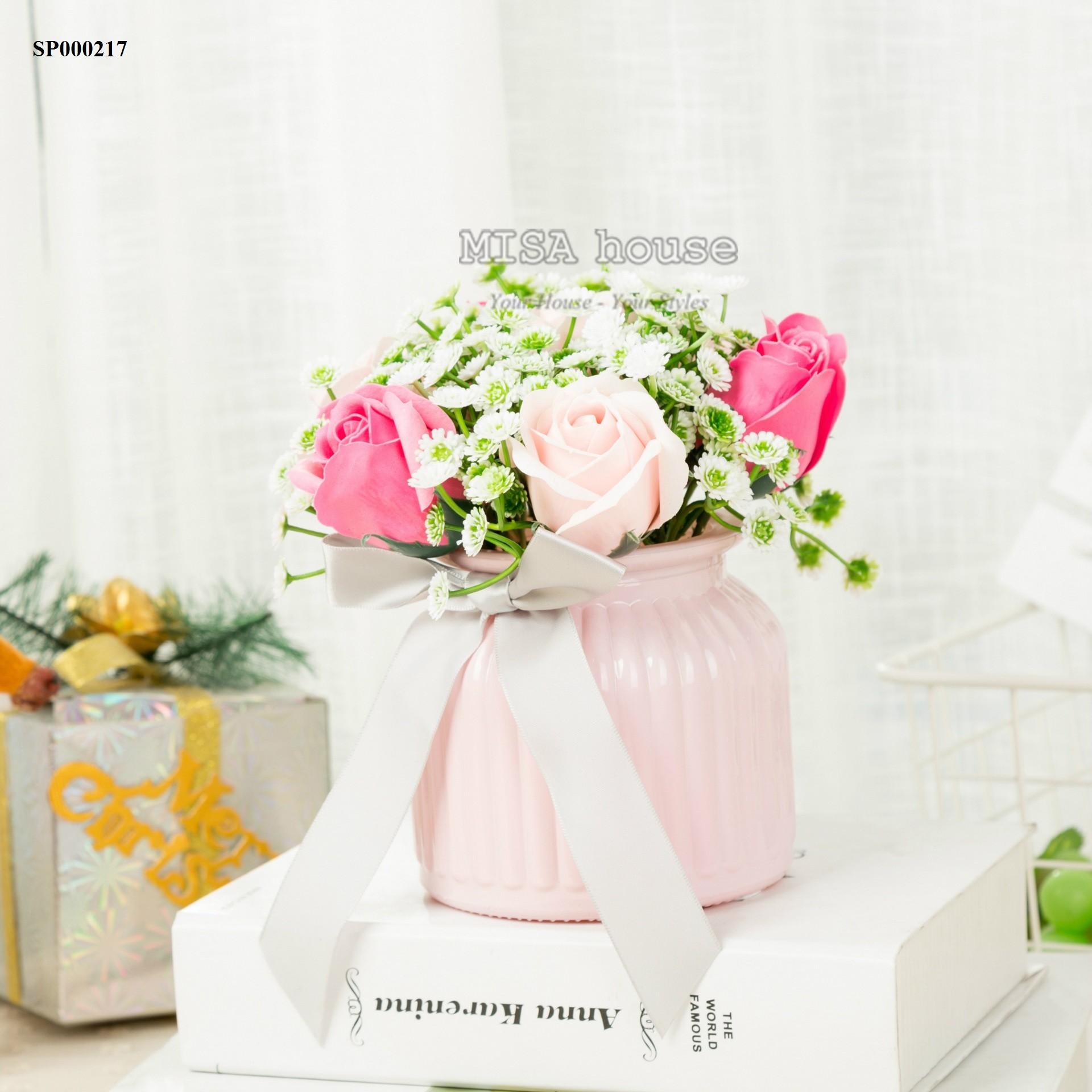 Bình hoa giả hoa hồng sáp siêu xinh trang trí bàn tủ kệ phòng khách , làm việc, trang trí nhà đẹp, lạ