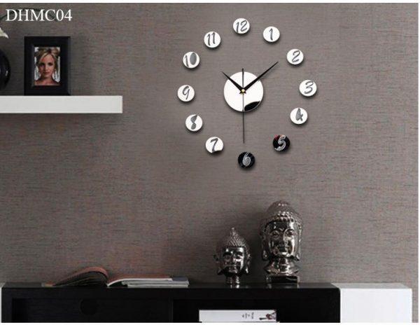 Đồng hồ mica dán tường trang trí phòng số đơn giản màu bạc phản quang hiện đại kích thước 50cm