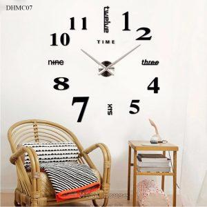 Đồng hồ mica dán tường số cách điệu size lớn 1m - 1.2m màu đen, đẹp, sang trọng