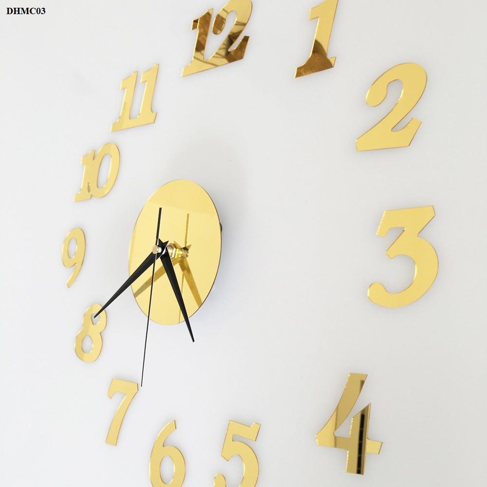 Đồng hồ mica treo tường trang trí phòng số đơn giản màu vàng phong cách hiện đại