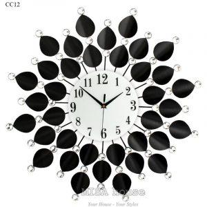 Đồng hồ treo tường cánh hoa đen trang trí phòng khách nghệ thuật