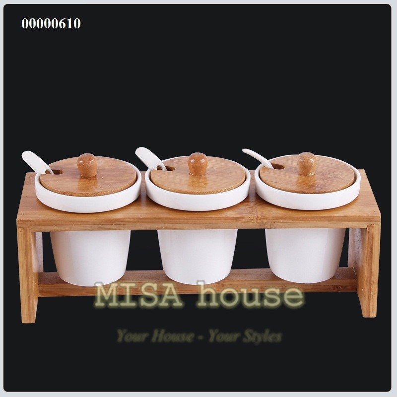 Bộ đựng gia vị bếp khung gỗ gốm sứ tròn cách điệu hiện đại