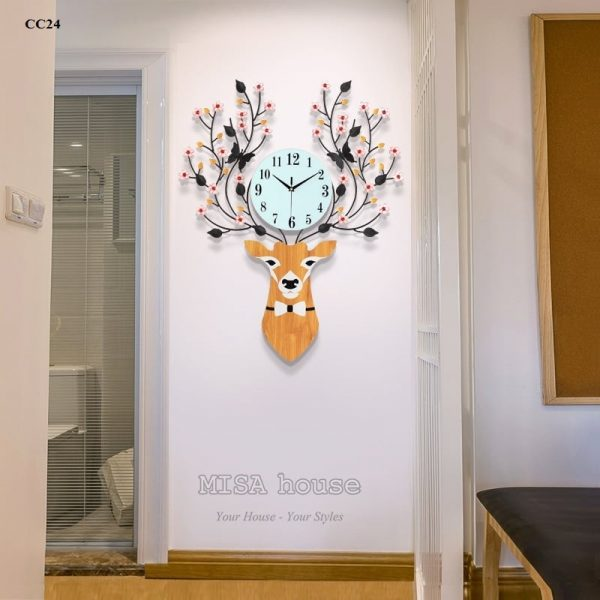 Đồng hồ treo tường đầu hươu hoa tài lộc nghệ thuật – đồ trang trí nhà đẹp , quà tặng tân gia ý nghĩa