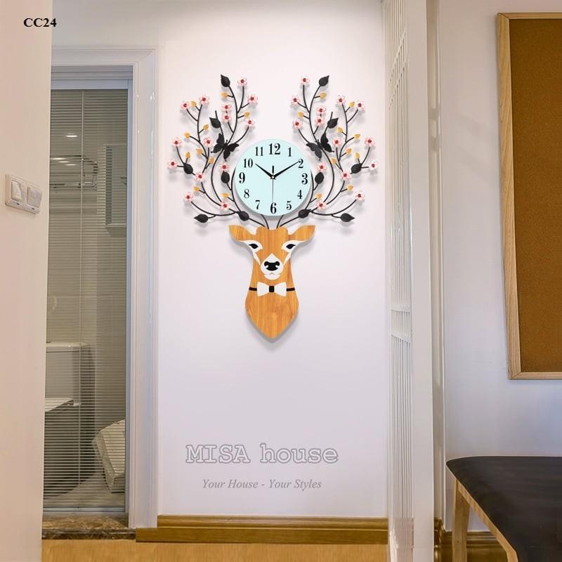 Đồng hồ treo tường đầu hươu hoa tài lộc nghệ thuật - đồ trang trí nhà đẹp , quà tặng tân gia ý nghĩa