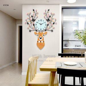 Đồng hồ treo tường đầu hươu hoa tài lộc nghệ thuật - đồ trang trí nhà đẹp , quà tặng tân gia đẹp ý nghĩa
