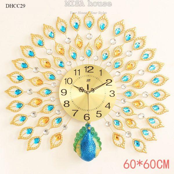 Đồng hồ chim công đuôi xanh xòe sang trọng cực đẹp - quà tặng tân gia cao cấp