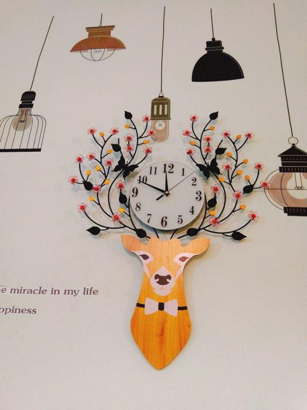 Đồng hồ treo tường đầu hươu hoa tài lộc nghệ thuật – đồ trang trí nhà đẹp , quà tặng tân gia ý nghĩa tặng người thân tặng nhà mới của sếp