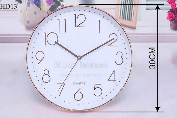 Đồng hồ treo tường viền màu đồng số đơn giản sang trọng ĐHHD13 – quà tặng tân gia
