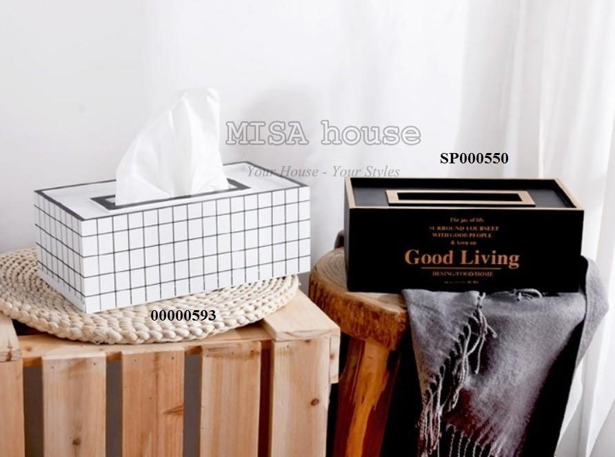Hộp đựng khăn giấy gỗ trắng đen caro đơn giản