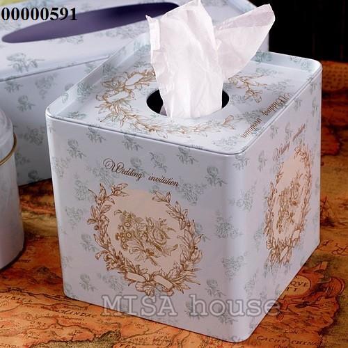 Hộp khăn giấy thiếc xanh wedding- khăn giấy tròn