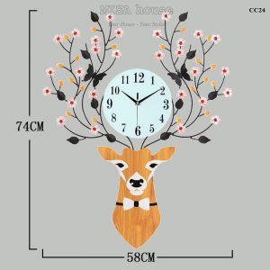 Đồng hồ treo tường đầu hươu hoa tài lộc nghệ thuật - đồ trang trí nhà đẹp