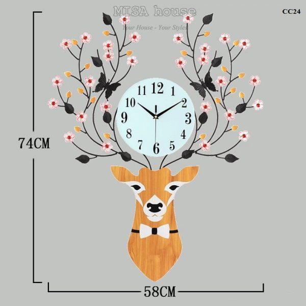 Đồng hồ treo tường đầu hươu hoa tài lộc nghệ thuật – đồ trang trí nhà đẹp