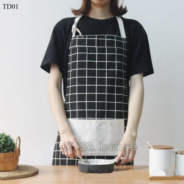 Tạp dề đeo nấu ăn màu đen sọc trắng caro