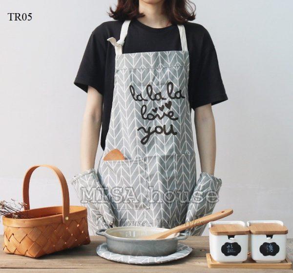 Tạp dề đeo nấu ăn màu xanh Lala Love