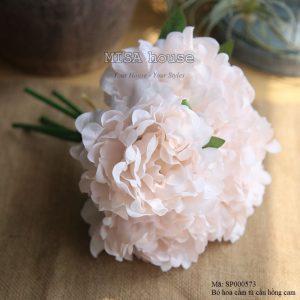 Bó hoa cẩm tú cầu trang trí màu hồng cam nhạt- hoa giả trang trí