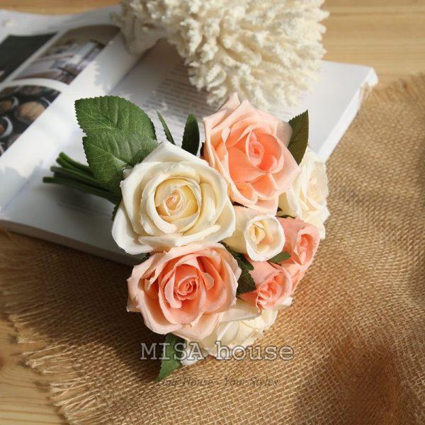 Bó hoa hồng trang trí tiệc màu cam – hoa giả trang trí