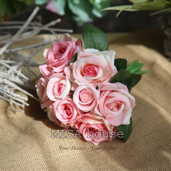 Bó hoa hồng trang trí tiệc màu hồng- hoa giả trang trí