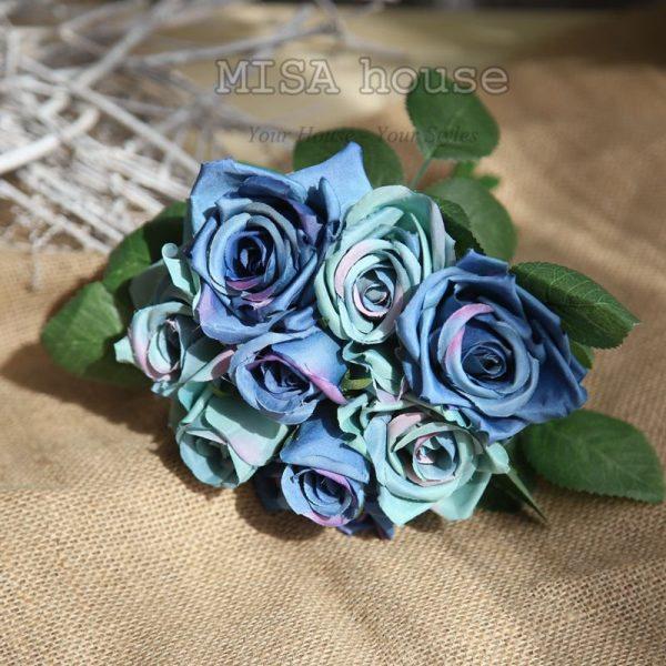 Bó hoa hồng trang trí tiệc màu xanh vintage- hoa giả trang trí