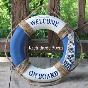 Phao biển welcome 50cm màu trắng xanh lớn - đồ trang trí phong cách địa trung hải - đồ trang trí chủ đề biển
