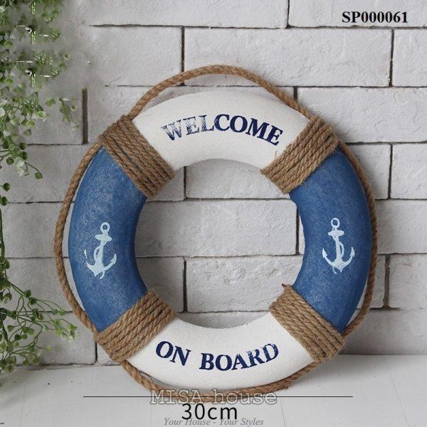 Phao welcome 30cm trắng xanh – đồ trang trí phong cách biển