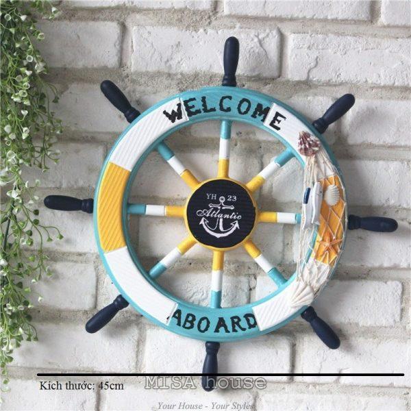 Tay lái tàu gỗ biển 45cm nhiều màu siêu đẹp – đồ trang trí phong cách địa trung hải – đồ trang trí chủ đề biển