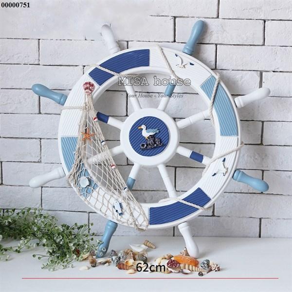 Tay lái tàu 62cm chim hải âu trắng xanh CĐB – đồ trang trí phong cách địa trung hải – đồ trang trí chủ đề biển