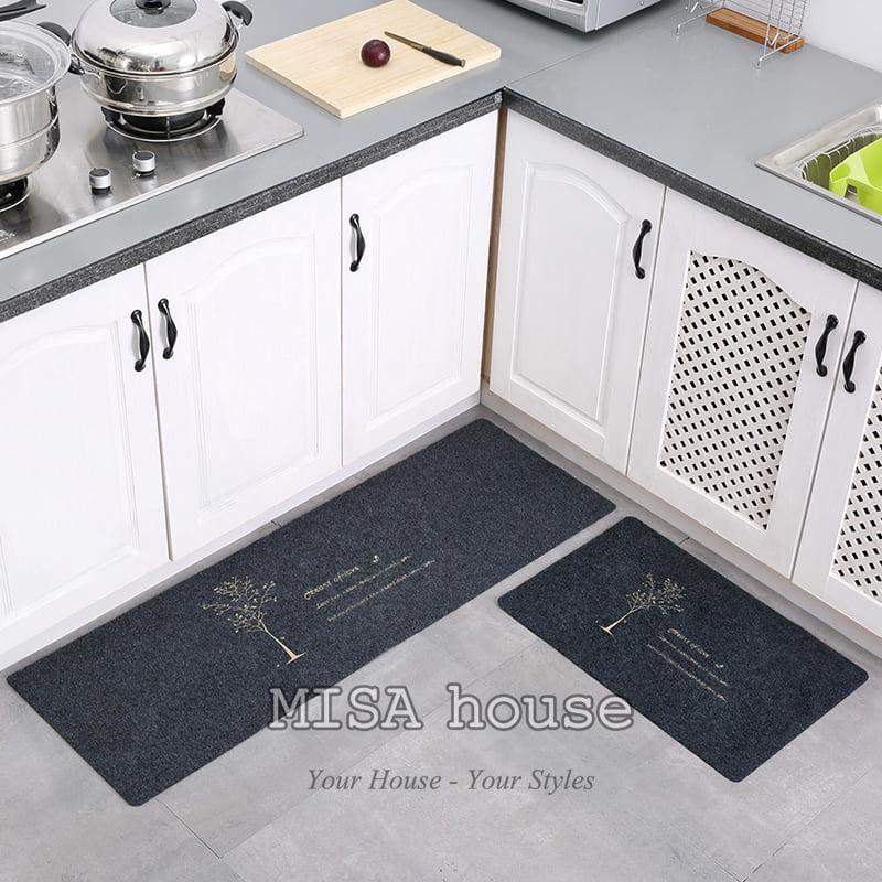 Bộ thảm bếp đẹp trang trí hình hình cây phu thê