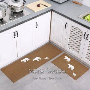 Bộ thảm bếp đẹp trang trí hình 3 chú gấu xám
