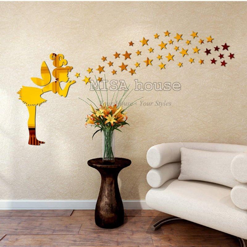 Thiên thần sao mica dán tường trang trí đẹp – trang trí nhà đẹp- cửa hàng – shop – quán cafe- trà sữa