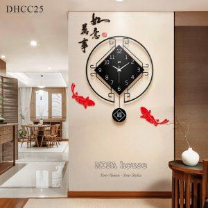 Đồng hồ treo tường cá chép cổ điển tài lộc thích hợp treo trang trí phòng khách, làm quà tặng tân gia siêu đẹp