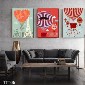 Tranh treo tường canvas đẹp hình bóng bay kinh khí cầu rực rỡ - tranh trang trí nhà, quán cafe