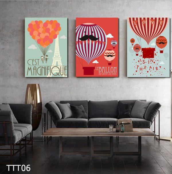 Tranh treo tường canvas đẹp hình bóng bay kinh khí cầu rực rỡ – tranh trang trí nhà, quán cafe