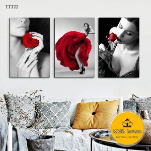 Tranh treo tường cô gái hoa hồng trắng đen đỏ nghệ thuật - tranh canvas đẹp trang trí