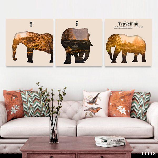 Bộ 3 tranh canvas treo trang trí – tranh nghệ thuật voi ẩn dụ rừng cây
