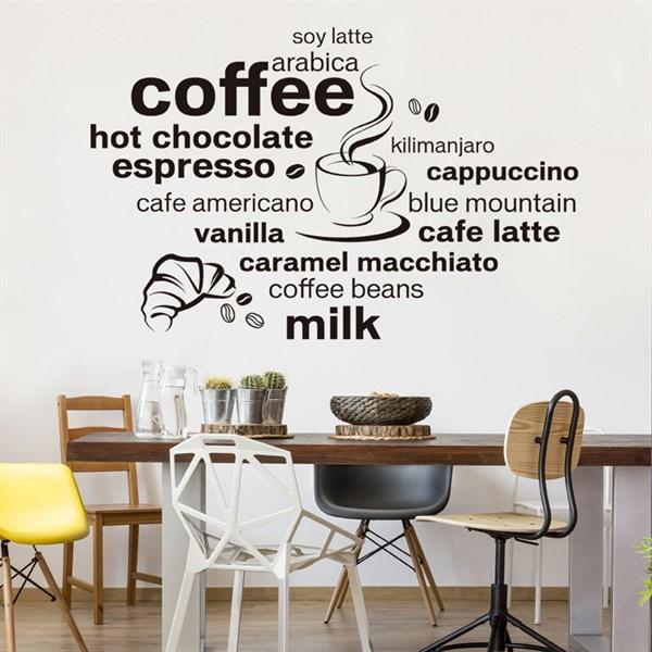 Tranh dán tường trang trí quán Coffee phòng trọ phòng khách mẫu trắng đen đẹp