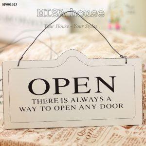 Bảng open close trắng trang trí quán cafe, cửa hàng, shop, spa ..