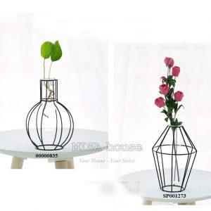 Bình hoa sắt thủy tinh đen tối giản trang trí lá hoặc hoa giả đẹp