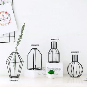 Bộ 4 bình hoa sắt thủy tinh tối giản mang đến điểm độc đáo cho không gia nhà và quán cafe, cửa hàng, nhà hàng thêm hiện đại