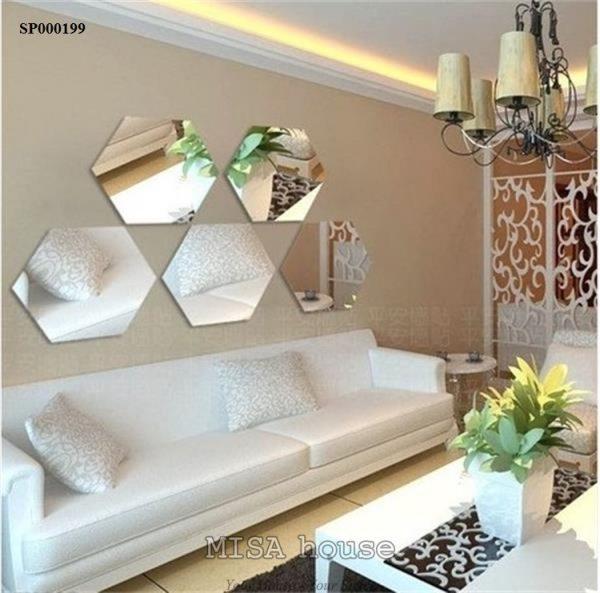 Gương dán tường decor trang trí siêu đẹp bằng mica lục giác màu bạc dễ thi công giá rẻ size lớn