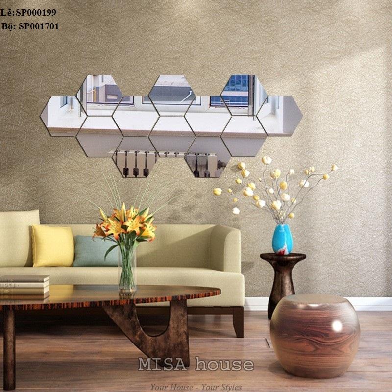 Gương dán tường decor trang trí siêu đẹp bằng mica lục giác màu bạc dễ thi công giá rẻ