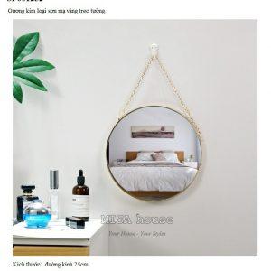 Gương tròn viền mạ vàng kim loại - gương trang điểm - gương treo tường trang trí đẹp