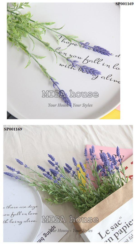 Hoa lavender cành 3 nhánh tím cao – hoa oải hương giả đẹp trang trí nhà quán cafehiện đại