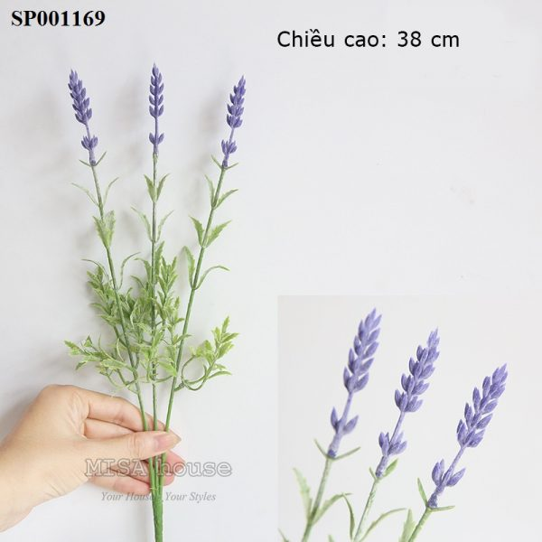 Hoa lavender cành 3 nhánh tím cao – hoa oải hương giả đẹp trang trí nhà quán cafe
