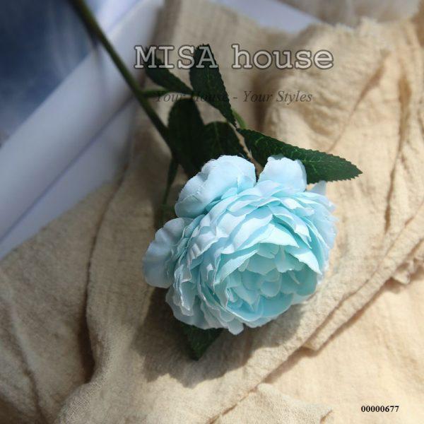 Hoa mẫu đơn màu xanh lẻ – hoa giả đẹp