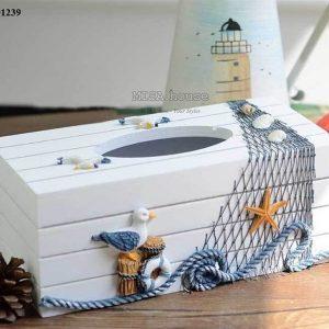 Hộp đựng khăn giấy gỗ chim hải âu trắng – đồ trang trí nhà chủ đề biển Địa Trung Hải