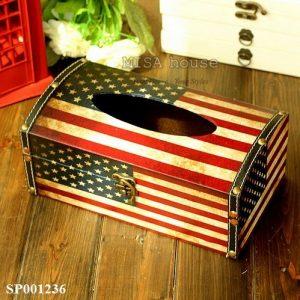 Hộp đựng khăn giấy phong cách vintage cổ điển hình cờ Mỹ đẹp độc lạ decor trang trí